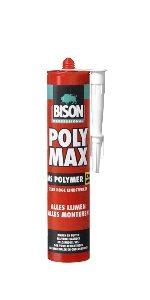 bison poly max ms-polymer hoogwaardige montagelijm op basis van ms-polymer met zeer hoge eindsterkte, voor binnen en buiten koker 425 gr,, per doos a 12 stuks
