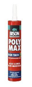 bison poly max high tack hoogwaardige montagelijm op basis van ms-polymer met zeer hoge aanvangshechting, voor zware materialen koker 410 gr,, per doos a 12 stuks