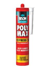bison poly max express een supersnelle montagelijm op basis van ms-polymer die na 30 minuten handvast is en na ca. 4 uur zijn eindsterkte bereikt koker 435 gr,, per doos a 12 stuks